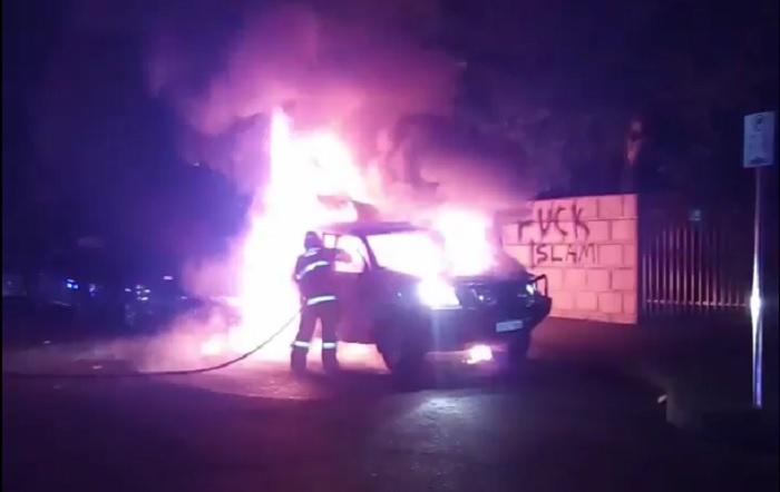 Car ablaze outside Thornlie Mosque