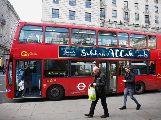 The ad on the red bus, Islamic Relief