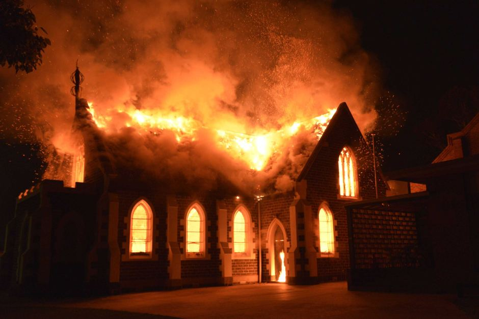 Geelong Mosque during the blaze, Matthew Richards